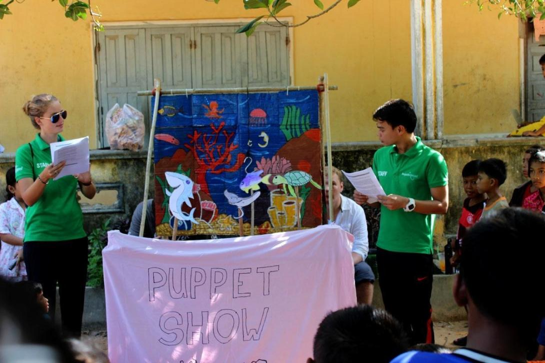 Projects Abroad Conservation volunteers do a puppet show for a Koh Sdach primary school on the importance of Shark conservation